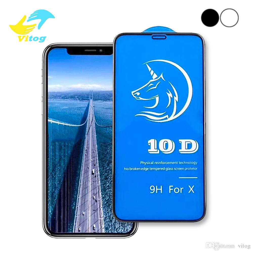 10D Tempered Glass Curved For Iphone 8 9 X XR XS Max Screen Protector Full Glue Cover for iPhone6 6S 7 8 Plus X Film 3D Edge