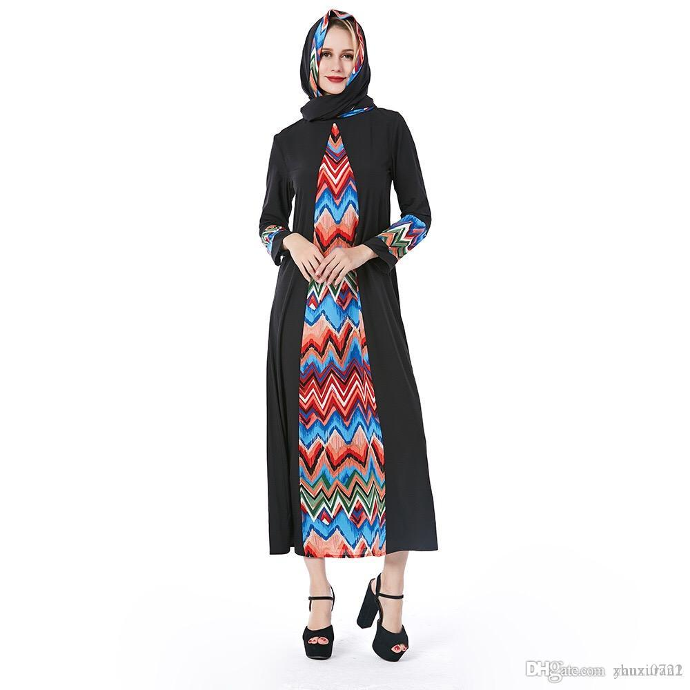 ac2ae8f02aae 2019 Spring And Autumn Explosions Muslim Long-sleeved Dress National ...