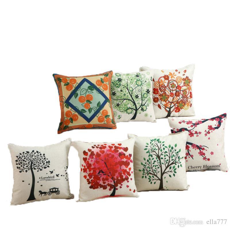 Compre árbol De Amor Y Plantas Impresión Digital Almohadas Cuadradas