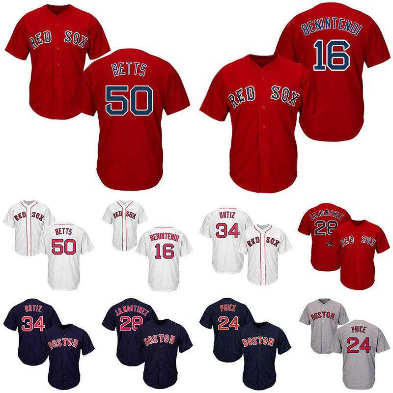 newest 0cb57 4c91a Boston Red Jersey Sox 50 Mookie Betts 16 Andrew Benintendi 24 David Price  28 J.D. Martinez 34 David Ortiz Mens Baseball Jerseys