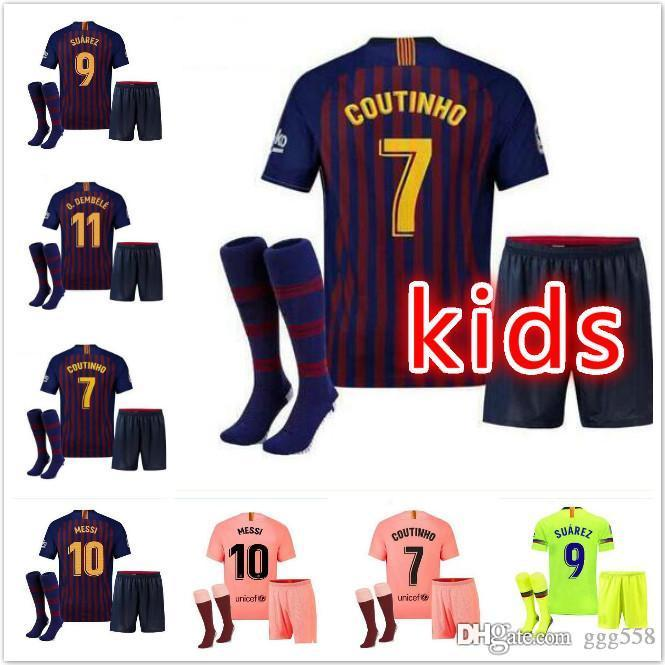 best service 8487a bc903 Barcelona 2018 MESSI SUAREZ Kids Jersey soccer 2019 Camisas Blue Dembele  Messi INIESTA home football shirt 18 19 kids Kit