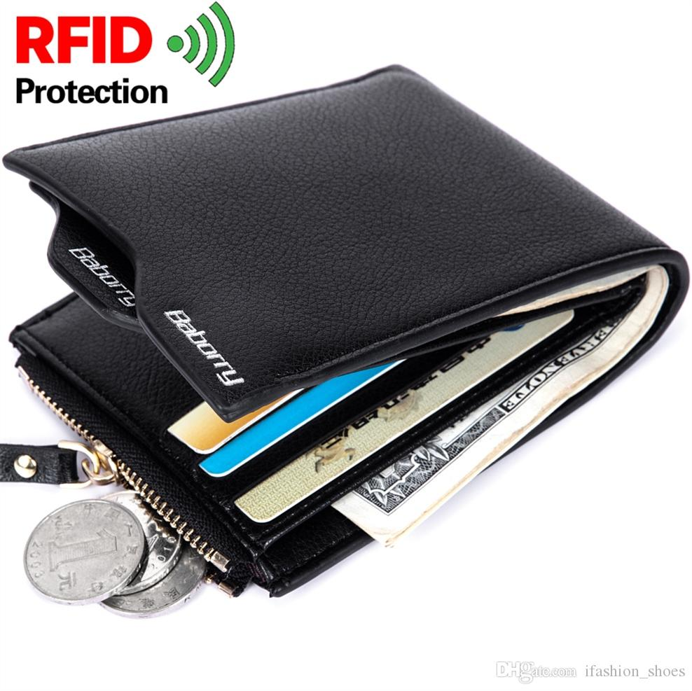 New Design RFID Protection Blocking Stop Wallet Vintage Casual Men Short Purse PU Leather Zipper Coin Pouch Card Case Anti-Theft #125063