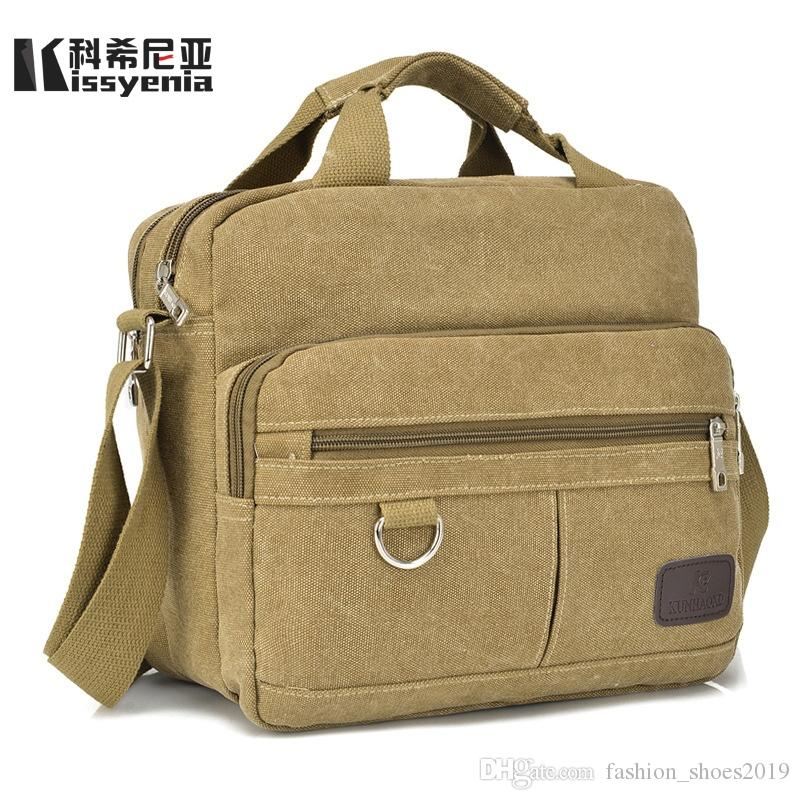 196cd4cfbd Kissyenia Vintage Canvas Briefcase Men Laptop Suitcase Travel Handbag Men  Business Bags Male Messenger Bags Shoulder KS1012  88117 Leather Briefcases  For ...
