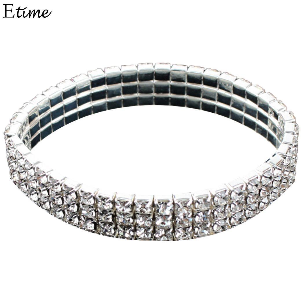 FANALA Multi-fila Rhinestone Bracelet Mulheres estiramento Cuff Beads Decor Bangle Pulseiras para Mulheres casamento Jóias nupcial