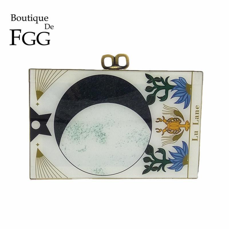 Boutique De FGG Vintage Zodiac\Sign Women Fashion Day Clutches Handbag Evening Acrylic Box Clutch Purse Shoulder Crossbody Bag