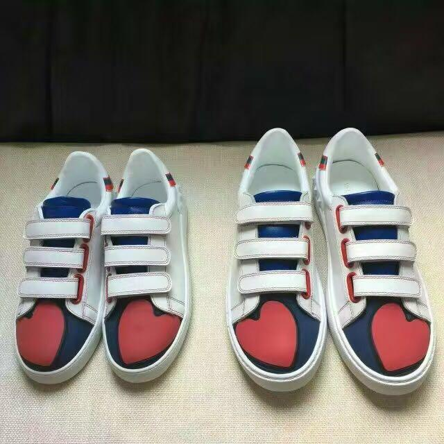 high quality!u639 40/41/42/43/44 genuine leather red heart shaped sneakers shoes blue casual tennis unisex couple lover men ladies blue 2019