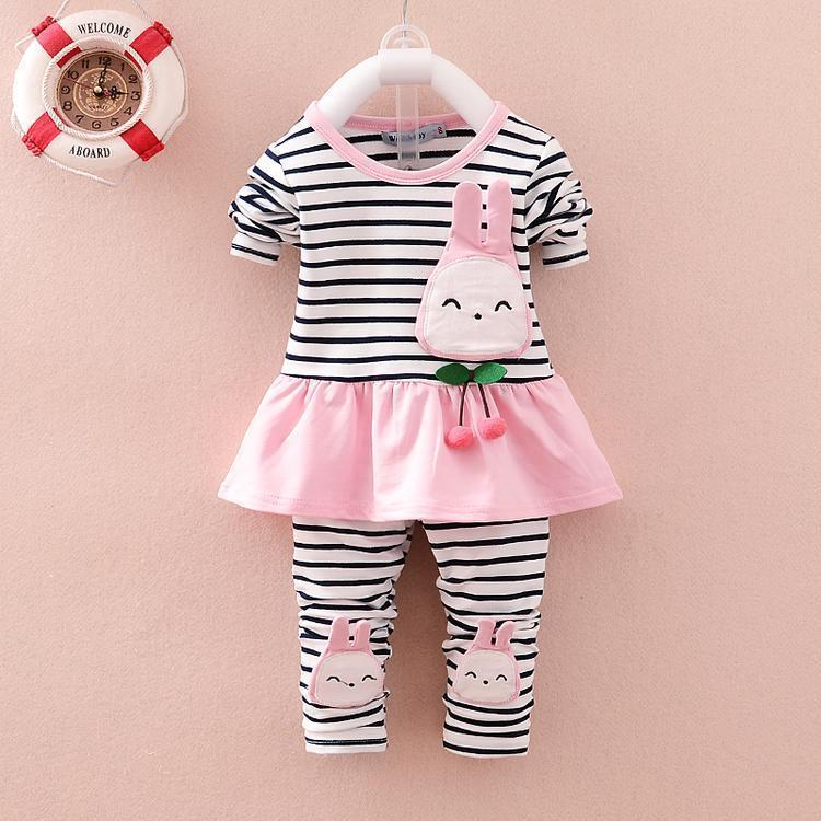 2019 Spring Autumn Clothing Set Baby Girls Toddle Striped Coat Leggings Cotton Cartoon Rabbit Long Sleeved T Shirt Pants Clothes