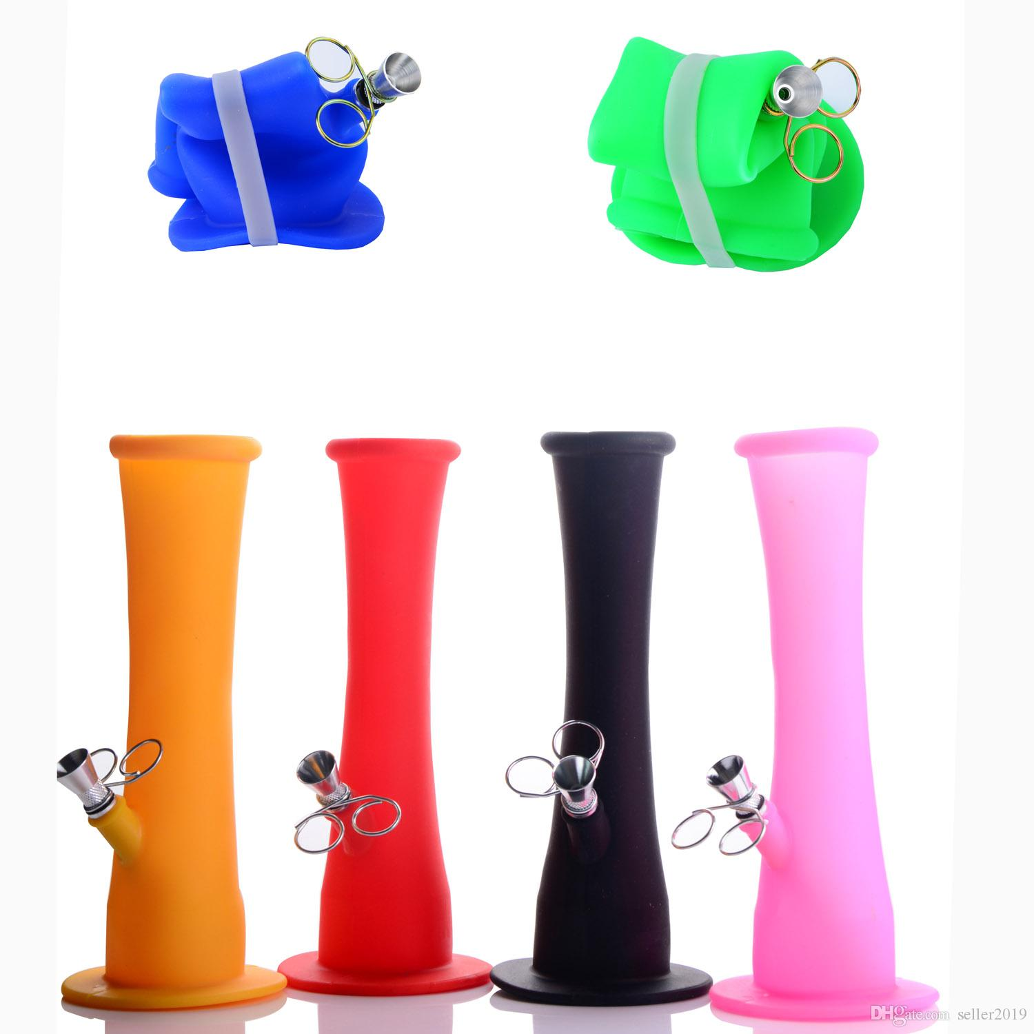 Silicone bong coloured Portable foldable Smoking Water pipe Rig Straight tube For Tobacco Accessories