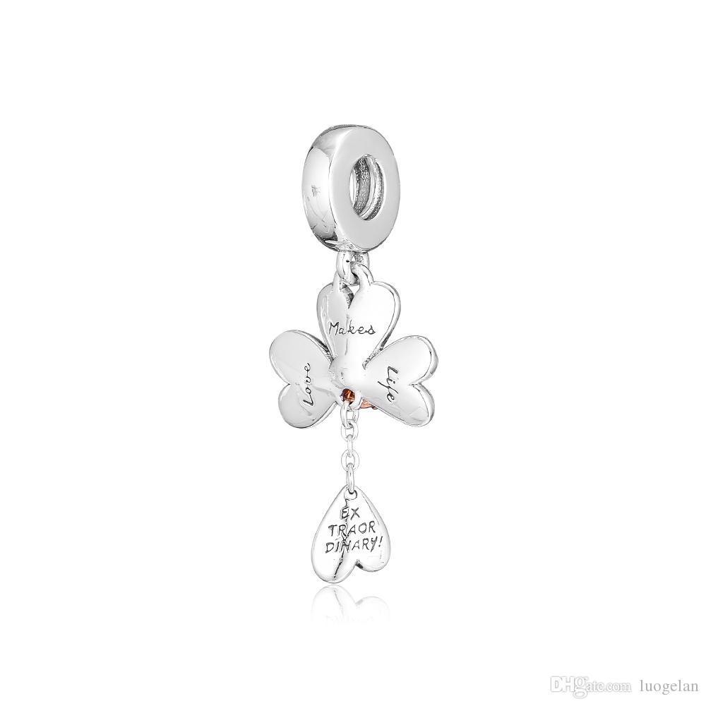 2019 Bahar 925 Ayar Gümüş Takı Yonca Uğur Böceği Dangle Charm Boncuk Pandora Bilezikler Kolye Kadınlar Için DIY Yapma