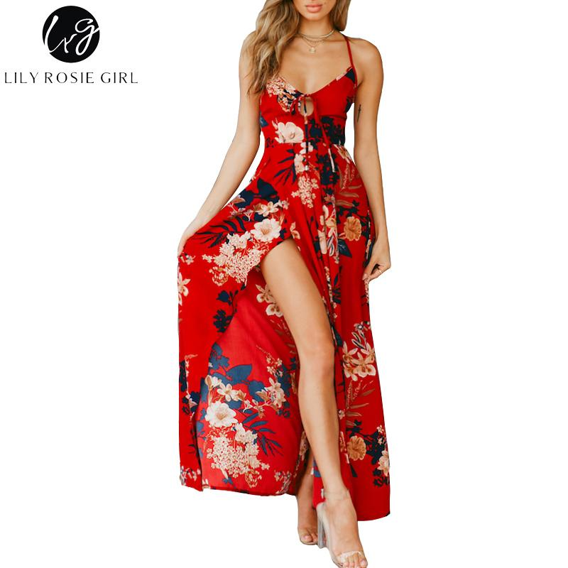 c7300200a9b72 2019 Lily Rosie Girl Red Floral Print Sexy Lace Up V Neck Women Maxi Dresses  Summer Split Backless Beach Long Vestidos Boho Dress S415 From Rui03, ...