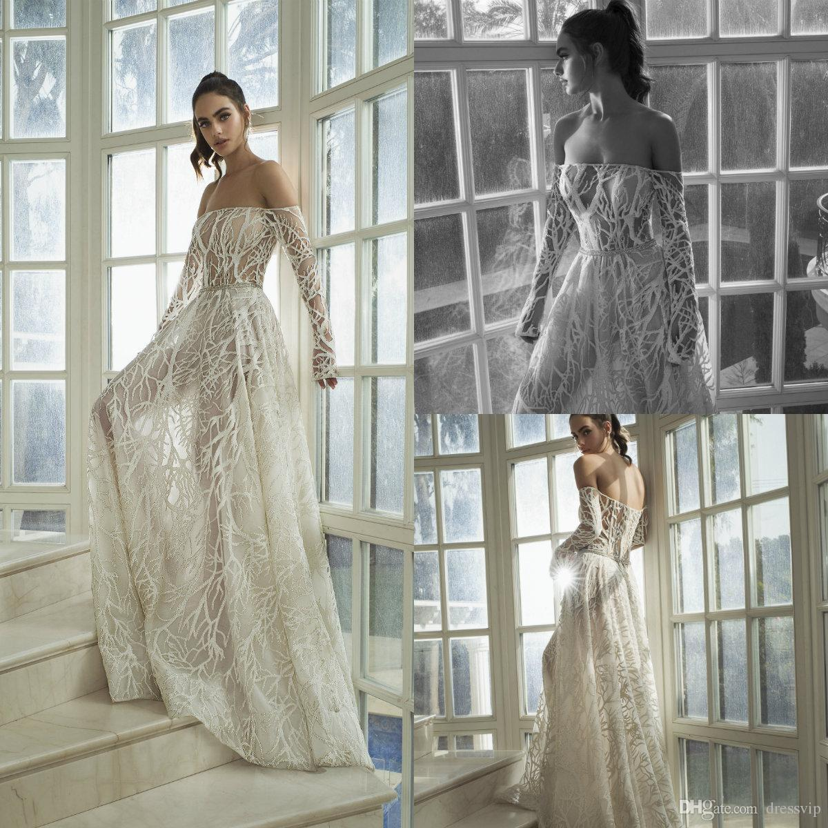 d1561dd6481 Discount 2019 Bohemian Long Sleeve Wedding Dresses Off The Shoulder Lace  Appliques A Line Beach Wedding Dress Custom Plus Size Country Bridal Gowns  Simple ...