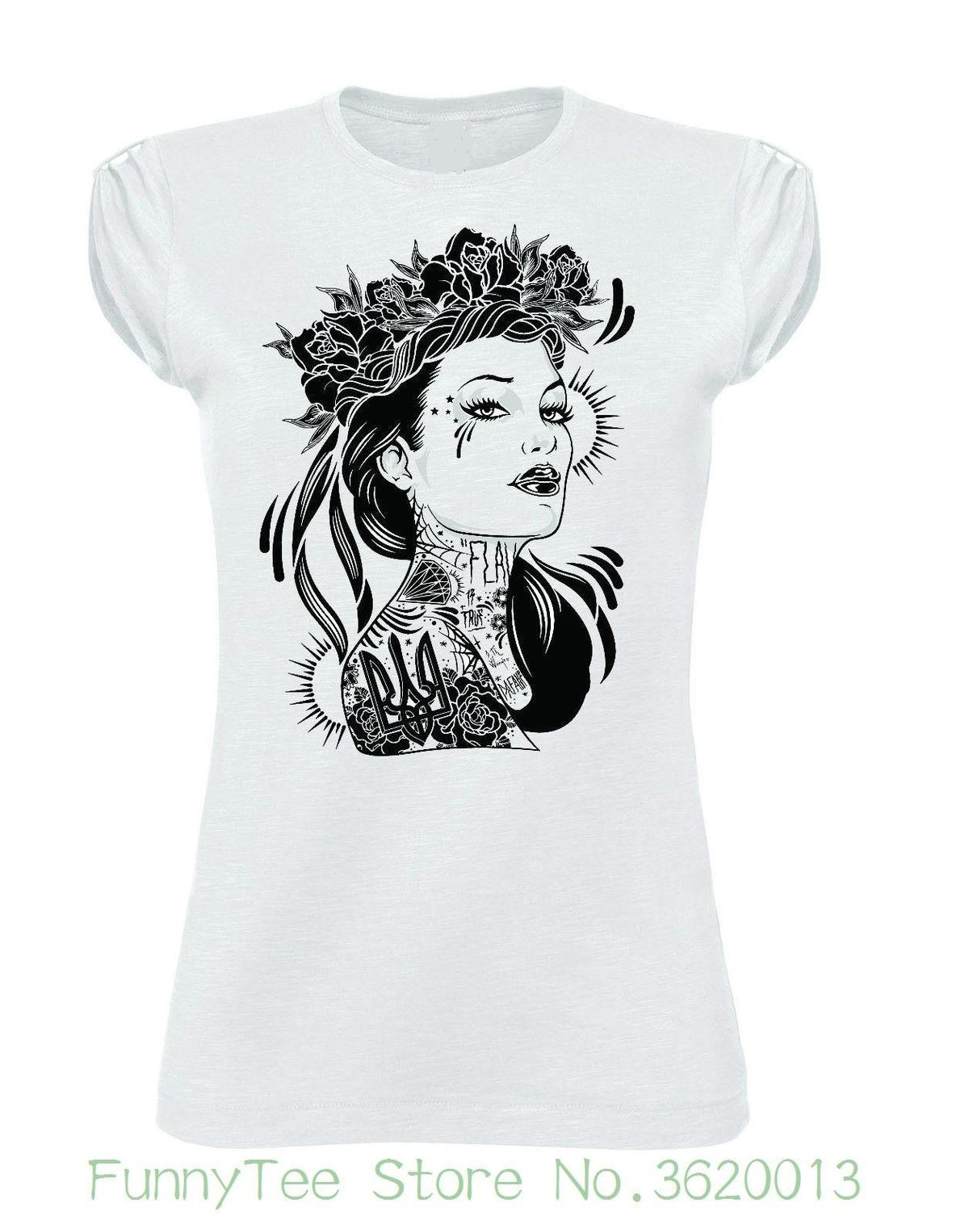 buy online fd65a 5ceae Women s Tee Tshirt Donna Girl Tattoo Rose Moda Fashion No Happiness 8th  Wonder Printed Funny T-shirt Hip Hop Cotton