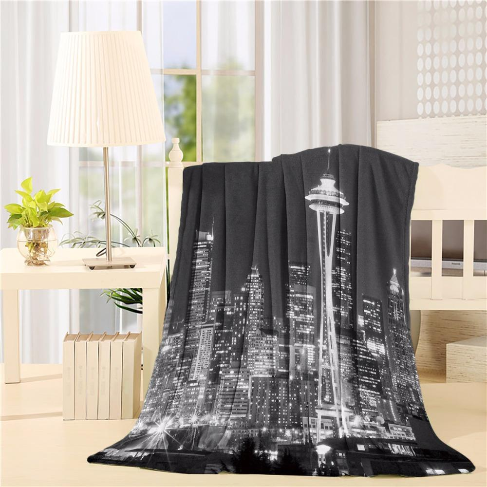 Unique and Generic Seattle black and white city skyline Flannel Throw Blanket Lightweight Cozy Bed Sofa Blankets Super Soft Fabr