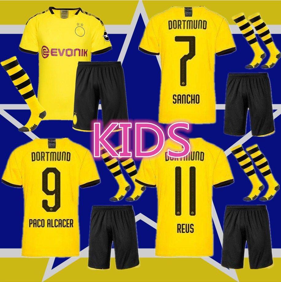 huge discount 624bd 190fb new 2019 2020 REUS soccer jersey kids Kit 18 19 maillots de football  Borussia Dortmund youth jersey M.GOTZE PULISIC football shirts