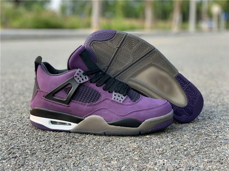on sale 84ff9 d9bbb Limited Edition Travis Scott 4 Purple Black Man Basketball Designer Shoes  New IV Suede Cactus Jack Fashion Sport Sneakers Top Quality