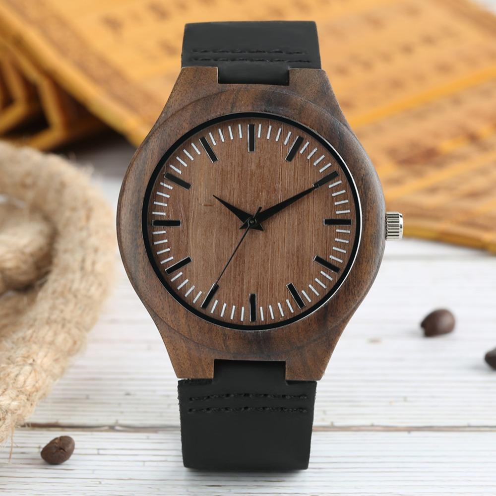 d8bcd5e8a172 Compre Minimalista Reloj De Madera Para Hombres De Cuarzo Negro De Cuero  Genuino De Pulsera De Moda Regalos Regalos Masculinos Con Caja De Regalo A   25.4 ...