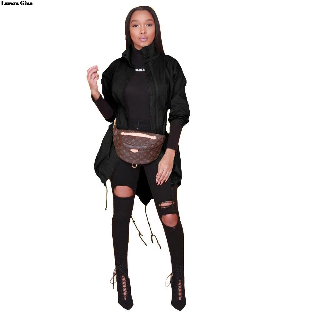 0aef22ae2 Compre Lemon Gina 2019 Mulheres Manga Comprida Zipper Up Com Capuz Longo  Trincheira Moda Senhora Casual Active Wear Casaco 2 Cores 5088 De Garters