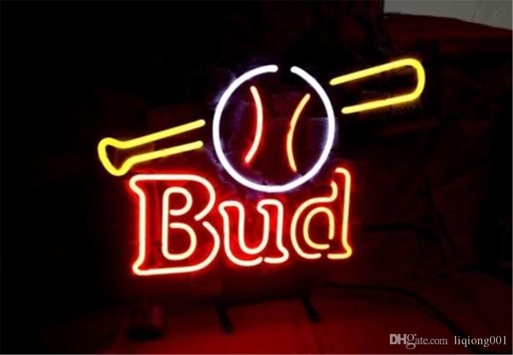 New Star Neon Sign Factory 17X14 pollici Real Glass Glass Sign Light per Beer Bar Pub Garage Room Bud Baseball Bat.