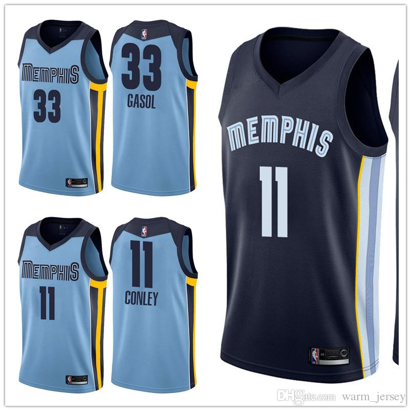 separation shoes 77f37 7d2e8 Cheap 2019 Men Memphis Mike Conley Jersey Grizzlies Marc Gasol Swingman  Jersey Light Blue New