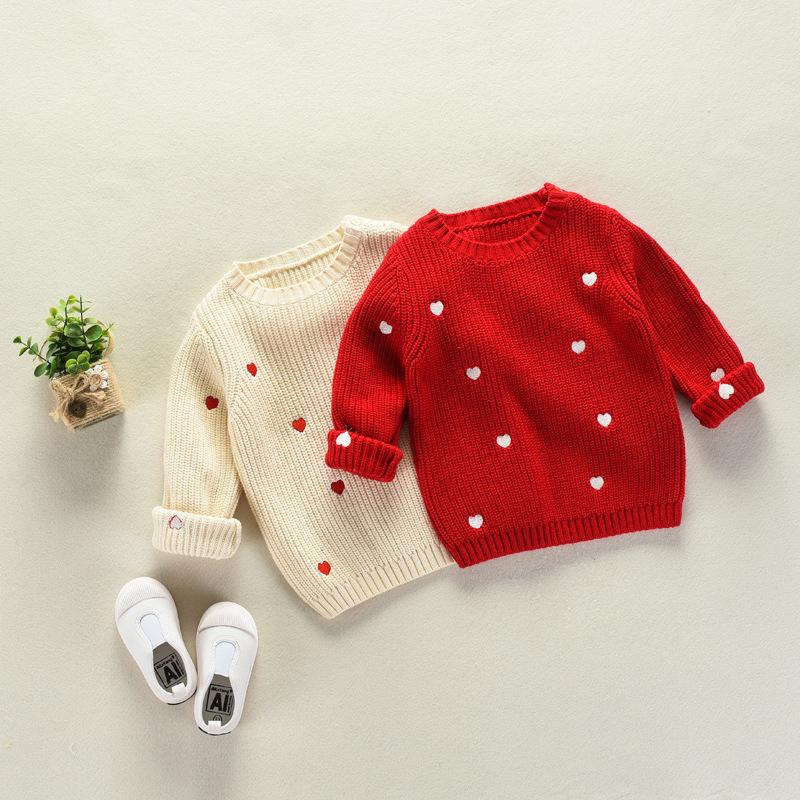 Baby Girls Sweaters Beige Red Knitted Wear Girls Love Shape Embroidery Sweater for Kids O-Neck Cute Heart Cardigan Sweater Coat