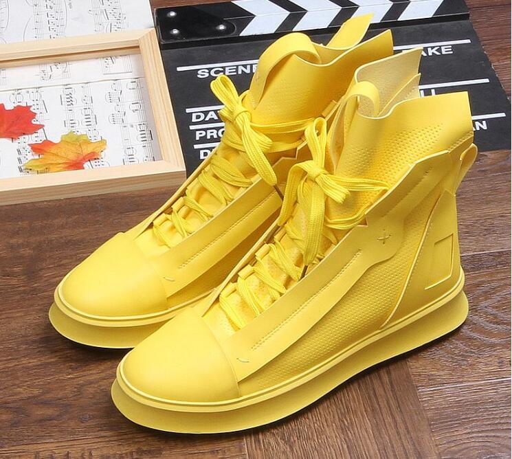 Hot Sale-streets Trendy Men's Designer Shoes high tops zipper Platform Casual Flats lace-up Shoes Male Dress Wedding Prom shoes