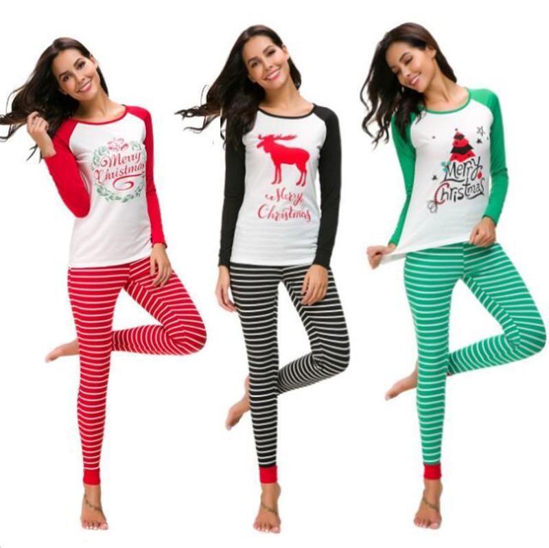 b0bd92a450f059 Women Pajamas Set Merry Chirstmas Print Pullover T Shirt + Striped ...