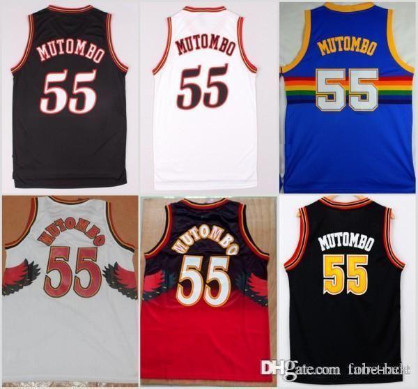 NCAA Atlanta 55 Dikembe Mutombo Jersey Hawks Sale Fashion All Star ... 8bf47c12e