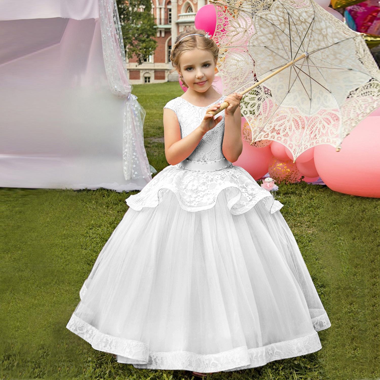 0cd86b77d Compre Niñas Vestido De Niña De Las Flores Princesa Encantadora Niños  Concurso Fiesta Baile Boda Cumpleaños Vestido De Gala Chica De Niña  Vestidos De Niña ...