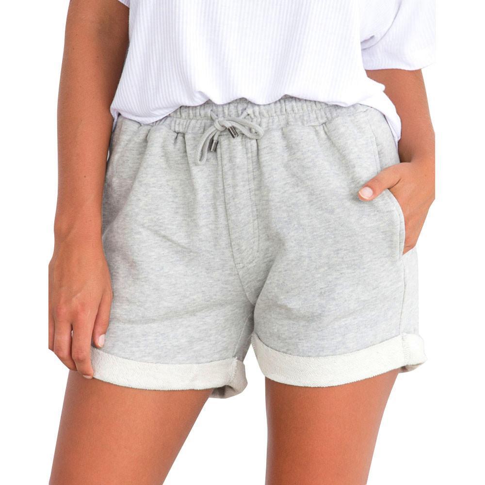 989250dc9dd1 Mujeres feitong pantalones cortos de verano de las señoras de las mujeres  de cintura elástica recta pantalones cortos de cintura alta de algodón ...