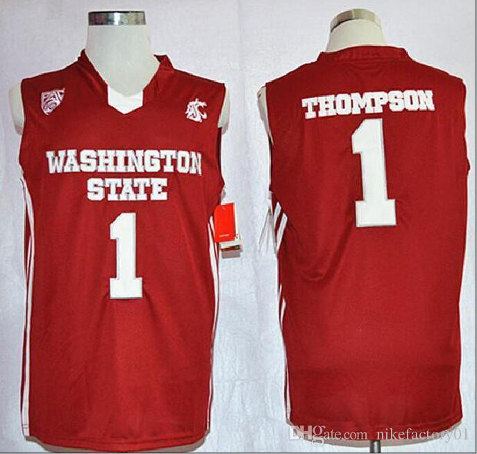 NCAA Mens throwback Washington State Cougars Thompson College Basketball Jerseys Cheap Red #1 Thompson сшитые рубашки на открытом воздухе hot sell