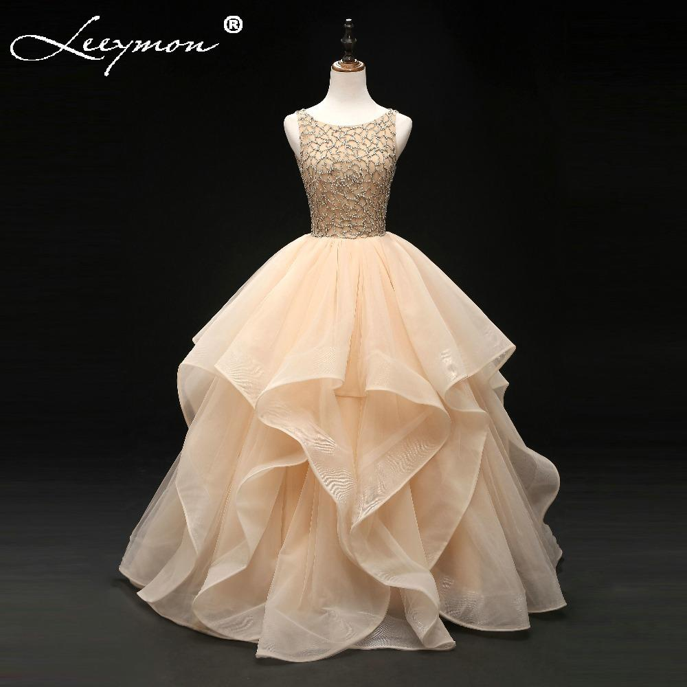 2019 New Ruffled Quinceanera Dresses for 15 years Long Tiered Backless Prom Dress Floor Length Girls Party