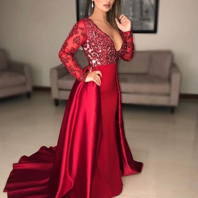 005241e06e1b 2018 Dark Red Mermaid Prom Dresses Deep V Neck Illusion Long Sleeves Lace Applique  Beaded Crystal Sweep Train Overskirt Evening Party Gowns 1950s Prom ...