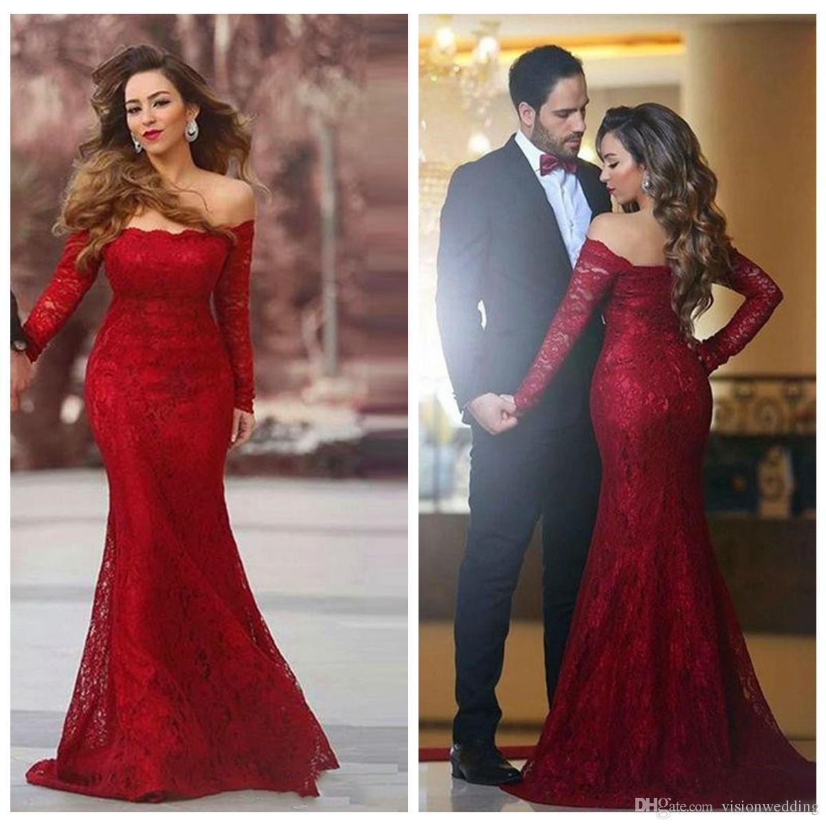 2228bd2ec81d Mermaid Red Prom Dresses 2019 Long Off Shoulder Lace Long Sleeve Floor  Length Vestidos De Fiesta Formal Party Cocktail Dress Evening Gowns Prom  Dresses ...