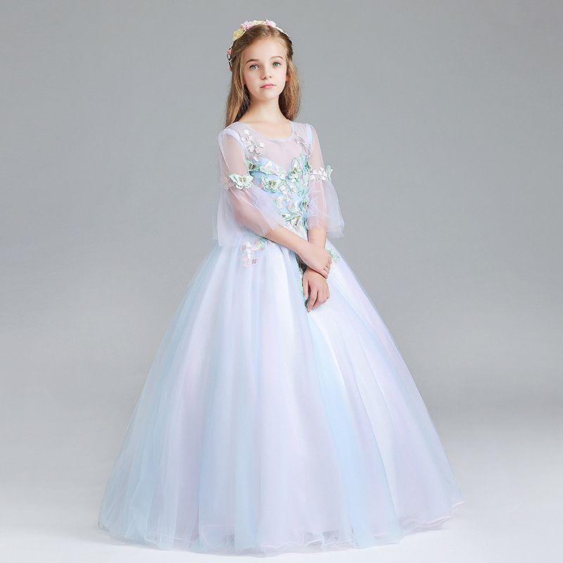 1a1f52b70 Compre Lovey Holy Lace Princess Vestidos De Niña De Flores 2019 Vestido De Fiesta  Vestidos De Primera Comunión Niñas Media Manga De Tul Vestidos Para Niños  ...