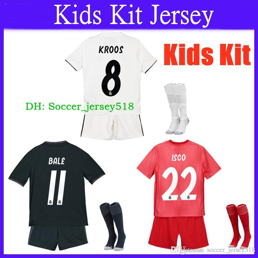 f6ec267eac0 2019 Kids Kit+Socks Football Jersey Real Madrid 2018/19 Home Away Third Boy  Soccer Jerseys Boys ISCO ASENSIO BALE KROOS Soccer Shirts