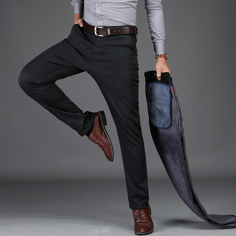 41b5b386985 2019 Fleece Warm Pants Men Winter Stretch Straight Pant Casual Business  Long Trousers Male High Quality Work Pants Big Size 29 40 42 From Keviny
