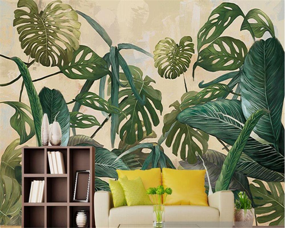 Beibehang Photo Wall Mural Wallpaper Retro Tropical Rain Forest Palm Banana Leaf Living Room Tv Papel Tapiz De Pared Para Paredes 3 D