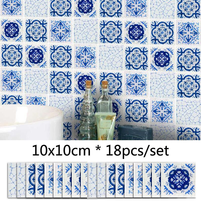Blue Frosted Mosaic Wall Sticker DIY Decor Furniture Sticker Kitchen Bathroom Decorative Tile Wallpaper Mural 3D Decal Waistline Stickers
