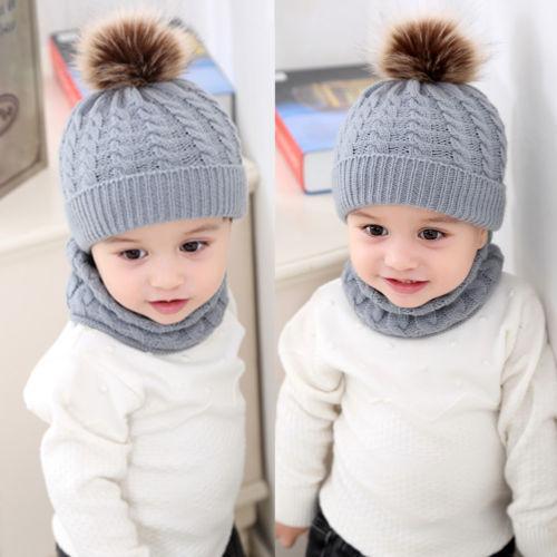 b6f657b3f Compre Invierno Recién Nacido Niño Bebé Niño Niños Cálido Sombrero De Punto  Sombrero De Algodón Pom Bobble Punto Crochet Bufanda Gorro De Lana Nuevo A  ...