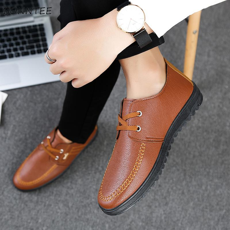 Leather Casual Shoes Men Classic Non-slip British Style Lightweight All-match Men's Soft Bottom Chic Flat with High Quality Shoe