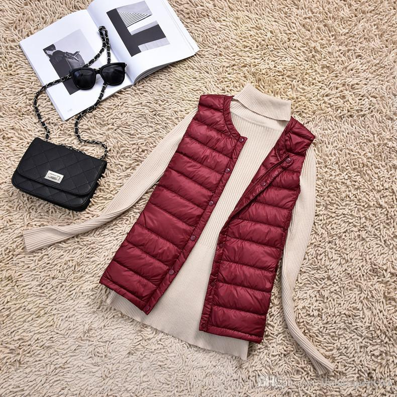 74627383b Wholesale Korean Edition Ultralight Down Coat Woman Designer Clothes White  Duck Down 90% Sleeveless Winter Jacket Women Color 5 Size M-4XL