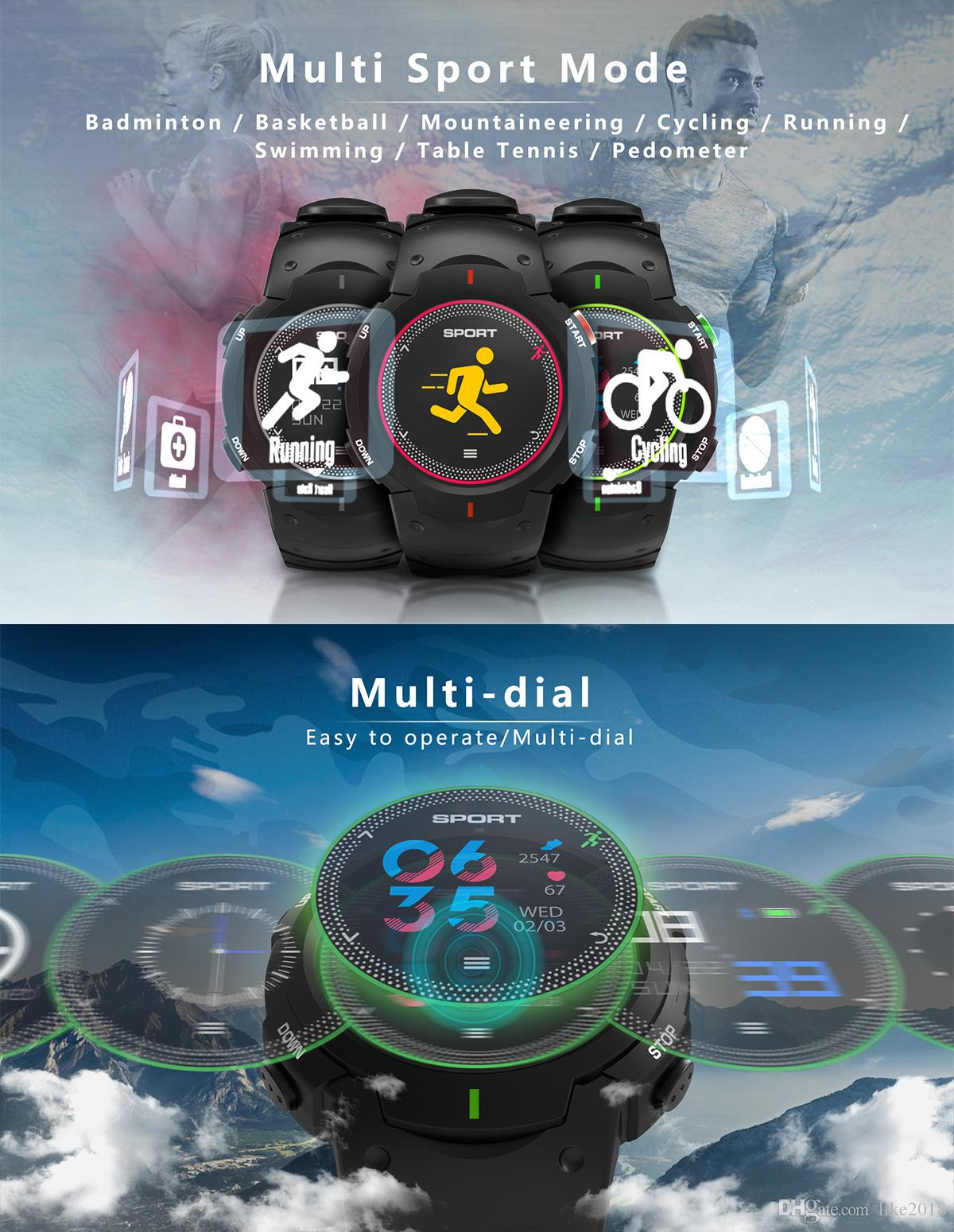 DT NO 1 F13 Smart watch ip68 Waterproof Sport running watch Multisport  Color LCD Smart notification Sport tracker for IOS/android