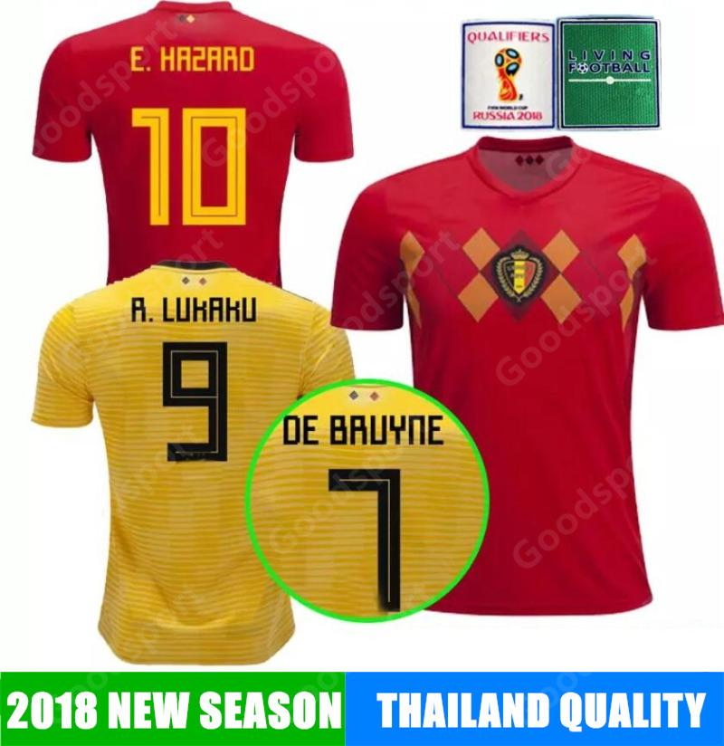 086f055c3ef 2019 2018 Belgium Soccer Hazard 19 Belgium Lukaku Nainggolan De Bruyne  FELLAINI Mertens Batshuayi Jerseys Calcio Shirts NEW World Cup Futebal SR  From ...