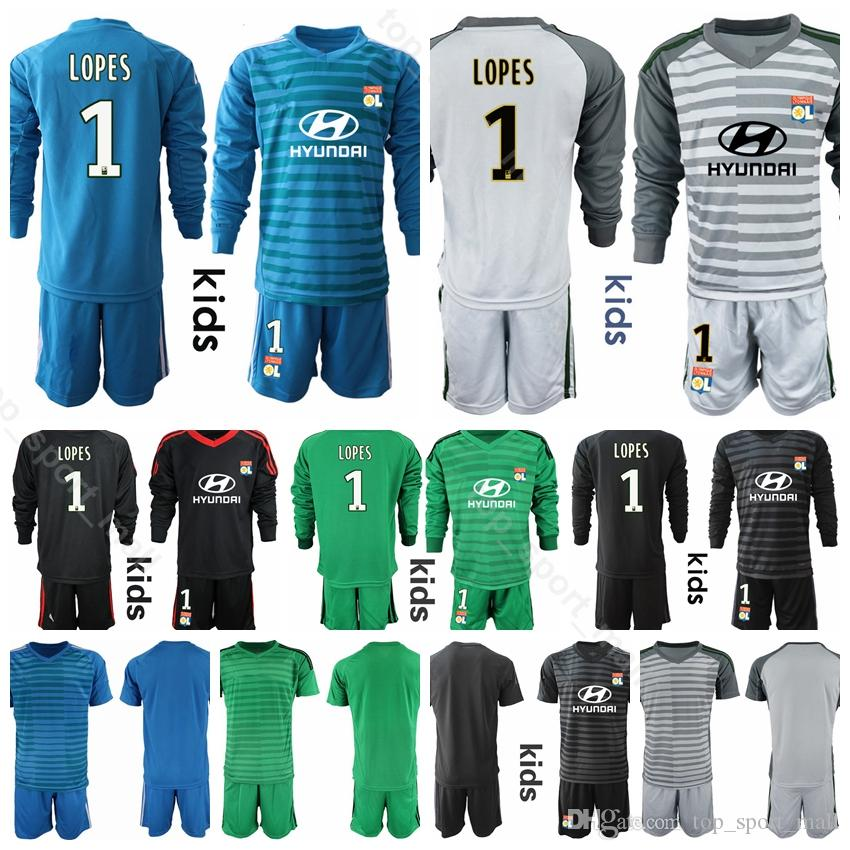 d958f667ced 2019 Goalkeeper Youth Lyon Jersey Long Sleeve Kids Soccer 1 Anthony Lopes  11 MEMPHIS 18 FEKIR 9 MARIANO Football Shirt Kits Uniform Children From ...