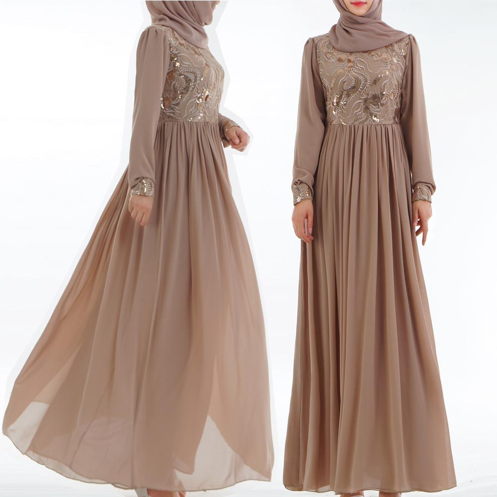 Muslim fashion wedding party lace sequins chiffon dress for women
