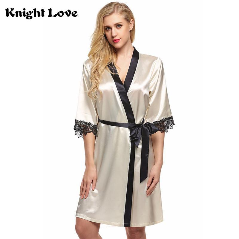 New Women Kimono Robe Knee Length Bathrobe Sexy Lingerie Sleepwear Half  Sleeve Short Satin Lace Nightwear Bridesmaid Robes S XXL UK 2019 From  Workwell fe3a81050