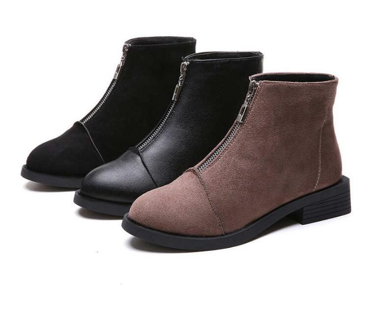 fd7cf82ed Compre HOT Back Zipper Botines Negros Para Las Mujeres De La Plantilla Caliente  Botas De Mujer De Tacón Bajo Otoño Invierno Zapatos De Mujer Botas De Mujer  ...