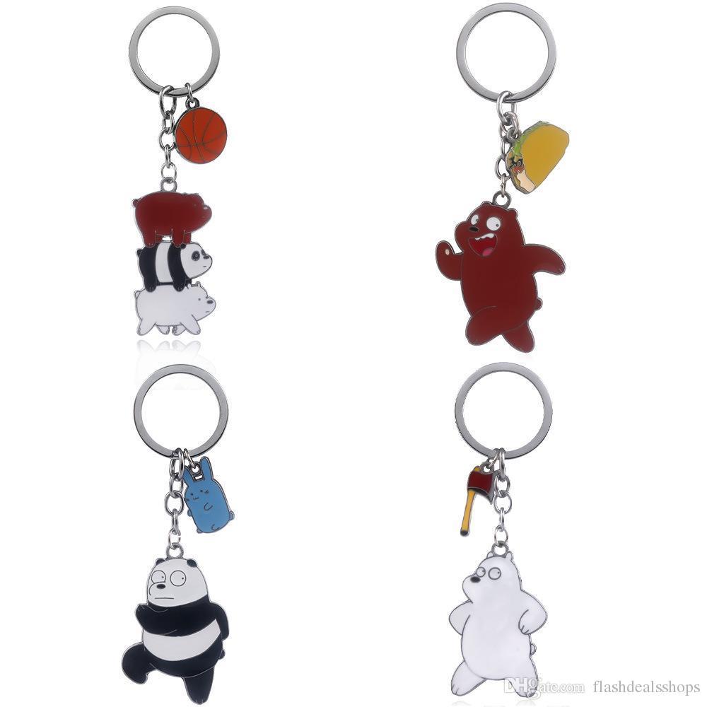 We Bare Bears Keychain Cartoon Panda Basketball Metal Key Buckle For ... 47dbf0fa6d