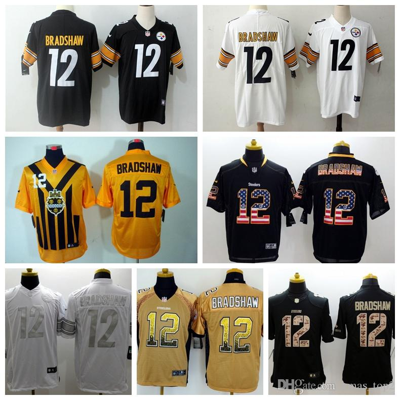 0e0687047 2019 New Mens 12 Bradshaw Pittsburgh Jersey Steelers Football Jerseys 100% Stitched  Embroidery Steelers Bradshaw Color Rush Football Shirts Shirts Shirt ...