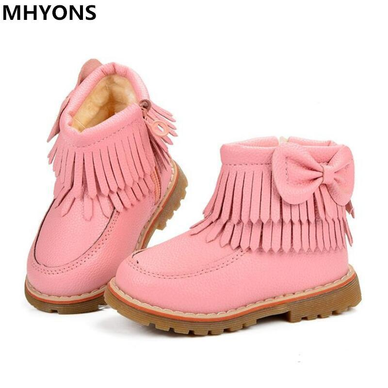 in stock best value nice shoes Fringe Girls Boots Fur Thick Warm Children s Shoes 2018 New Shoes For Boys  Top Quality Baby Cotton Zip Kids Snow Boots Winter